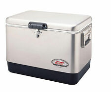 Coleman 54-Quart Stainless Steel Belted Cooler Outdoor Ice Chest Leakproof Box