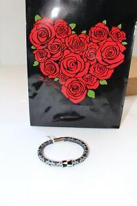 Brighton Woodstock Toledo Add Charms Bracelet Black White Bead NWT Leather S/M