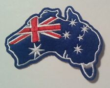 "Australia~Aussie~Map Flag~Embroidered Applique Patch~3 3/8"" x 2 3/4""~Iron Sew"