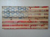 PARVEZ TAJ  American Flag On Natural Pine Wood Fine Art Print / COA And Signed