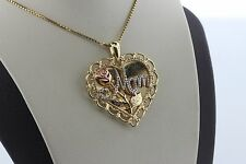 Sterling Silver 925 Gold Vermeil Mom Poem Heart Charm Pendant Necklace 18""