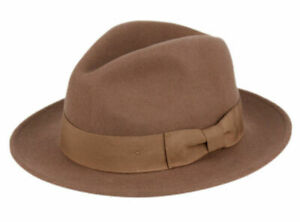 Premium Milano Wool Felt Fedora Hat Crushable w/Grosgrain Band Classic Flat Brim