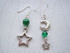Hook Emerald Silver Plated Costume Earrings