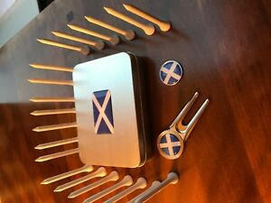 Scotland Golf Gift Tin consisting of Pitchfork & Marker & 20 Wooden Tees