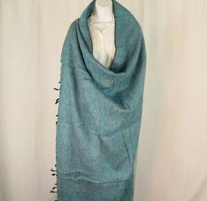 Blanket/Throw | Yak Wool Blend |Nepal |Handmade |Over-Sized | Cyan Black & White