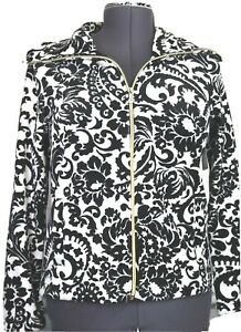NWT Onque Casuals Women's PS Black & White Zip Cardigan, Velour Jacket