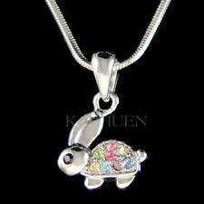 Rainbow Easter Bunny made with Swarovski Crystal Cute Rabbit hare Girls Necklace