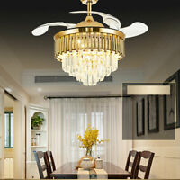 42'' Ceiling Fan Light Dimmable 3 Color LED Crystal Chandelier Home w/ Remote