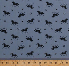 Horses Horseshoes Hearts Equestrian Ranch Blue Cotton Fabric Print BTY D365.08