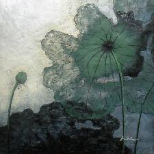 "Contemporary Oil Painting of Modern Art Decor Lotus Flowers Portrait 30x30"""