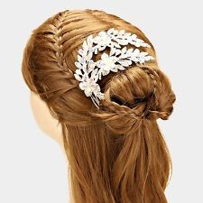 """LUXE Silver BIG 4.5"""" Austrian Crystal Hair Comb Cocktail Bridal Rocks Boutique"""