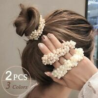 2x Elastic Rope Women Pearl Hair Ties Ponytail Holder Rubber Head Band Hairbands