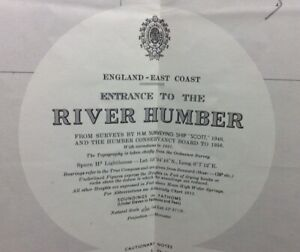 ADMIRALTY SEA CHART. No.109. Entrance to RIVER HUMBER. ENGLAND EAST COAST. 1942.