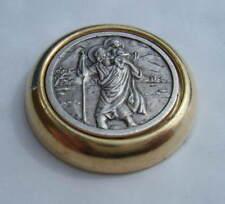 St Christopher Metal Badge for Car Dash Magnetic + Self Adhesive diameter 30mm