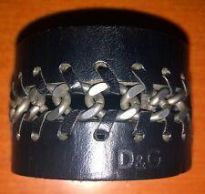 Dolche & Gabbana Lederarmband Schwarz mit Ketteneinsatz Unisex 22,5 cm D & G