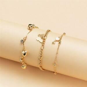 3pc/Set Summer Anklet Butterfly Multilayer Ankle Bracelet Beach Women Jewelry ~