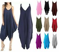 New Womens Ladies Cami Strappy Baggy Lagenlook Harem Playsuit Jumpsuit Dress Top