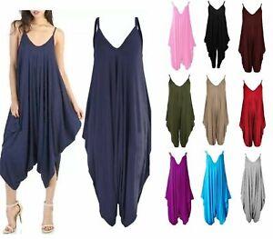 Women's Lagenlook Strappy Baggy Harem Jumpsuit Dress Top Playsuit