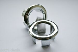 Bathroom Basin Ceramic Sink 2x Open Hole Overflow Cover Chromed Trim 3 Styles