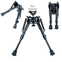 "6"" to 9"" Adjustable Spring Return Foldable Rifle Bipod / Picatinny Rail Adapter"