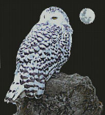 "Snowy Owl 2 Counted Cross Stitch Kit 10"" x 11"" 25.6cm x 28cm 14 Count"
