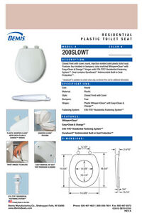 Bemis 200SLOWT-063 Round Plastic Slow Close Toilet Seat VENETIAN PINK