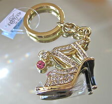 High Heel Shoe Sandal Key Ring with Swarovski Rhinestones, Palladium Plated,