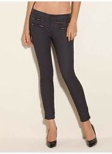 $138 Guess 8 Zippers Mid Rise Skinny Jeans Silicone Rinse Size 27
