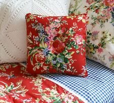 NEW Custom Ralph Lauren Belle Harbor Red Floral Throw Pillow 1 Button