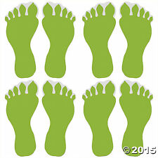 Glow-in-the-Dark Monster Footprint Floor Decals 2 Sheets 4 Stickers Each