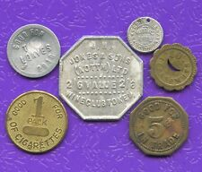 Lot Of 6 Vintage Merchant Bread / Cigarettes & Trade Tokens