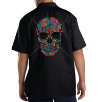 Dickies Mechanic Work Shirt Floral Colorful Sugar Skull Day Of Dead