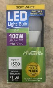 LED LIGHT BULB, LED 100 Watt Equivalent 14 Watt Actual, SOFT WHITE 1500 Lumens