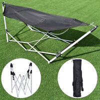 Black Portable Folding Hammock Beach Lounge Camping Bed Steel Frame Stand W/Bag