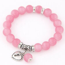 Summer Fashion Girls Rhinestone Glass Beads Charm Bracelet Love Heart Bangle Hot
