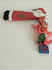 "Vintage Santa Tree Gifts Wooden Over-the- Door Or On Shelf Decor #6531 8""L"