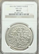 Ottoman Empire Kurush AH 1106 (1694/5) NGC MS61 Mustafa II Big Silver Coin !