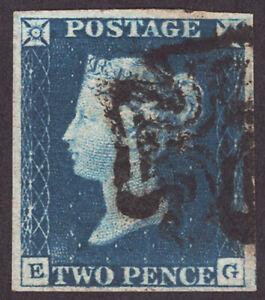 2d Deep Blue: Plate (1) (1840) (EG) (S/G Spec D1) (7) Manchester Fishtail M/C.