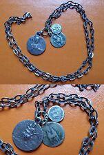 Grigris XIXe argent masif - Chaînette à 3 médailles en argent 11 g 48 cm de chaî