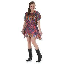 Wrangler Womens Rock 47 Western MULTI FEATHER Short Sleeve Dress - L - LJ7987M