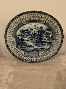 Vintage Chinese Export Porcelain Oval Plate Lace Edge Blue & White Country Scene