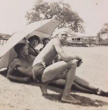 ORIGINAL vintage GAY INTEREST Sailor PHOTO BEEFCAKE MAN BULGE SWIMSUIT BEACH