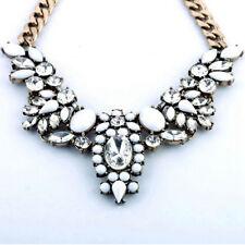 Charming Vintage Crystal Chunky Statement Bib Pendant Chain Choker Necklace HOT