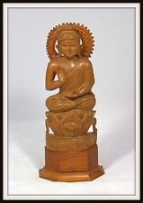 "AMAZING ""Hand Carved Chinese Wooden Buddha sitting on a Lotus Flower"" (10"" High)"