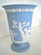 "Vintage Wedgewood Blue & White Jasperware England 5.5"" Grecian Design Vase"