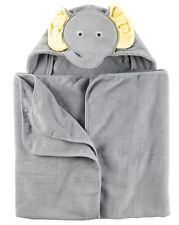 New Carter's Hooded Bath Towel Happy Elephant Face Terry Material NWT