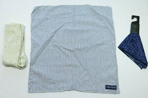 Lot of 3 14th&Union Pocket Squares Handkerchiefs Speckled Socks Striped Paisley