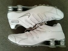 NIKE Shox Women Size 8.5 Running Shoes White Silver leather #366571-111