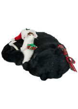 Byers Choice Catnap Mouse w/Santa Hat and Horn 2018 Version Black Cat Plaid Bows