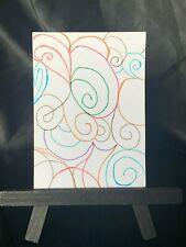ACEO Original Swirles Medium Black Ink Marker & Prismacolor on Paper Signed Art